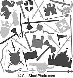 Patrón sin bordes con icono medieval