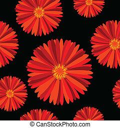 Patrón sin cortes con flores rojas sobre fondo negro