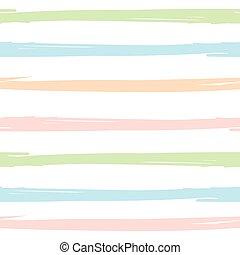 Patrón sin cortes con pinceles pintados a mano, fondo rayado. Ilustración de vectores