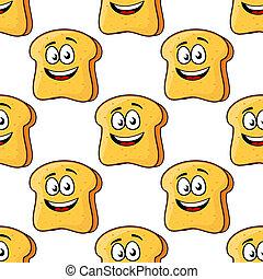 Patrón sin cortes de pan de dibujos animados