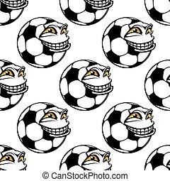Patrón sin cortes de una pelota de fútbol feliz