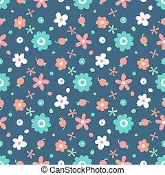 Patrón sin costura con flores pequeñas y bayas.