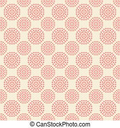 Patrón sin costura con flores rosadas abstractas sobre fondo blanco.