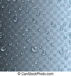 Patrón sin costura con gotas de agua transparentes realistas. Telón de fondo interminable con gotitas condensadas en un fondo rosa brillante. La superficie húmeda y el líquido claro formados por la condensación. Ilustración de vectores.