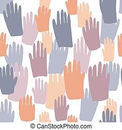 Patrón sin costura con huellas de personas de color