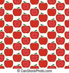 Patrón sin costura con manzana
