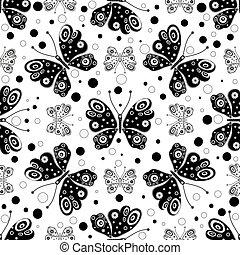 Patrón sin costura con mariposas simétricas en blanco y negro
