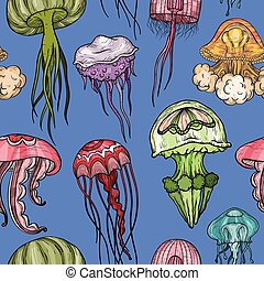 Patrón sin costura con medusa.