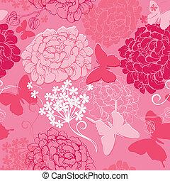 Patrón sin costura con siluetas de mariposas y flores dibujadas a mano, fondo abstracto de colores rosados