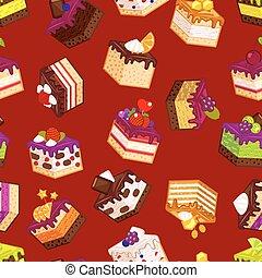 Patrón sin costura con trozos de pastel