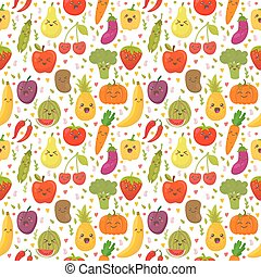 Patrón sin costura con vegetales frescos y frutas. Antecedentes vegetarianos. Un ambiente saludable