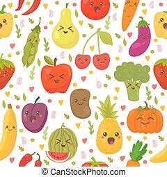 Patrón sin costura con vegetales frescos y frutas. Antecedentes vegetarianos. Un estilo de vida saludable