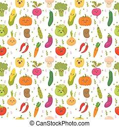 Patrón sin costura con verduras divertidas. Lindos antecedentes. Verduras felices