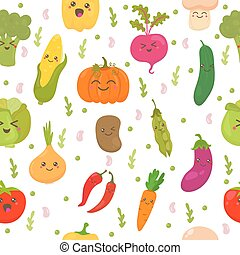 Patrón sin costura con verduras. Lindos antecedentes. Verduras felices
