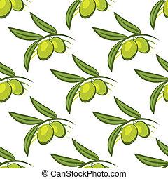 Patrón sin costura de aceitunas verdes frescas en una rama