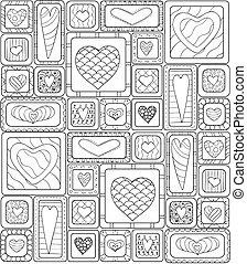 Patrón sin costura de corazones de dibujo original.