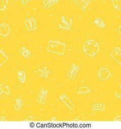 Patrón sin costura de elementos de playa. Papel tapiz amarillo