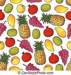 Patrón sin costura de frutas frescas saludables