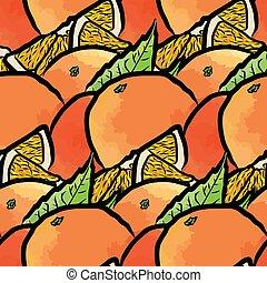 Patrón sin costura de naranjas frescas