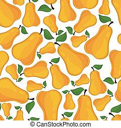 Patrón sin costura de peras, ilustración vectorial.