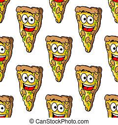 Patrón sin costura de rebanadas de pizza de hongos