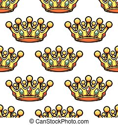 Patrón sin costura de una corona de oro real