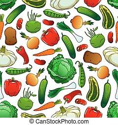 Patrón sin costura de vegetales frescos