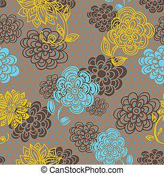 Patrón sin costura floral al estilo retro