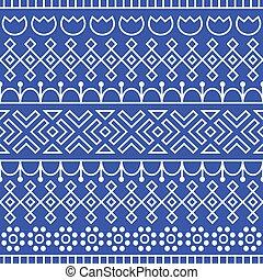 Patrón sin costura inspirado en arte popular escandinavo y finlandés. Azul nórdico y fondo blanco. Decoración repetida, textura para el diseño de telas