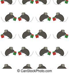 Patrón sin costura para el año nuevo. Simbolo chino de rata o ratón de Año Nuevo. Lindos ratones intercambian regalos. Adecuado para antecedentes o papel de envolver. Fondo blanco festivo