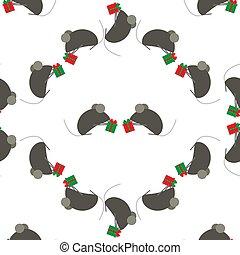 Patrón sin costura para el año nuevo. Simbolo chino de rata o ratón de Año Nuevo. Lindos ratones intercambian regalos. Adecuado para antecedentes o papel de envolver. Fondo festivo.