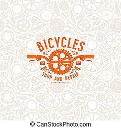 Patrón sin costura y etiqueta de la tienda de bicicletas