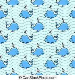Patrón sin costuras con ballenas en el fondo del océano azul al estilo garabato