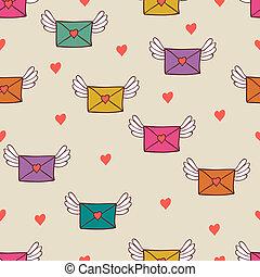 Patrón sin costuras con cartas de correo. Correo de amor.