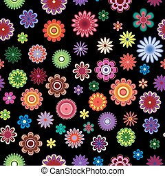 Patrón sin costuras con flores brillantes sobre el negro