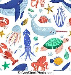 Patrón sin costuras con lindos animales marinos felices viviendo en el océano. Telón de fondo con fauna bajo el agua o criaturas del mundo marino en el fondo blanco. Ilustración de vectores infantiles planos para la impresión textil.
