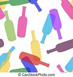 Patrón sin costuras con una botella transparente colorida en fondo blanco