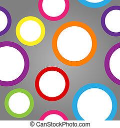 Patrón sin fisuras de círculos blancos con fronteras coloridas