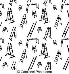 Patrón sin fisuras de silueta de escalera. Ilustración del vector.