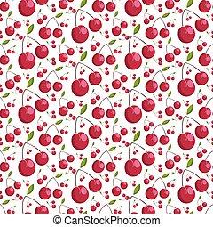 Patrón sin forma de cerezas jugosas. Ilustración de vectores