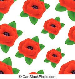 Patrón sin forma de flores de amapola realista.