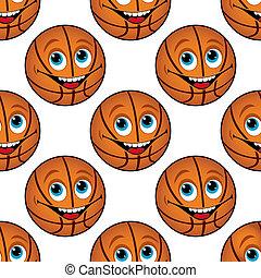 Patrón sin forma de un feliz baloncesto de dibujos animados