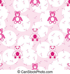 Patrón sin mancha rosa con osito de peluche