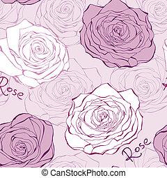 Patrón sin mancha rosa con rosas