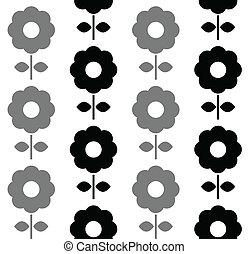 Patrón sin manchas florales, blanco y negro