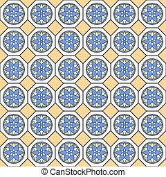 Patrón sin marca en colores azules y amarillos.