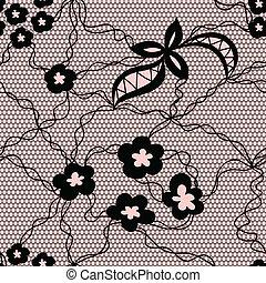 Patrón sin marcas de encaje con flores