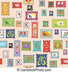 Patrón sin sellos con sellos postales, diseño infantil gracioso