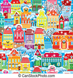 Patrón sin sentido con casas coloridas decorativas en invierno. Navidad y año nuevo ciudad festiva sin fin.