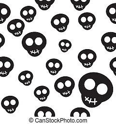 Patrón sin sentido con cráneos negros en blanco